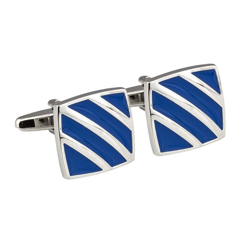 Silver Striped Blue Enamel Cufflinks