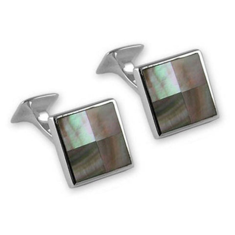 Sterling Silver Black Shell Square Cufflinks