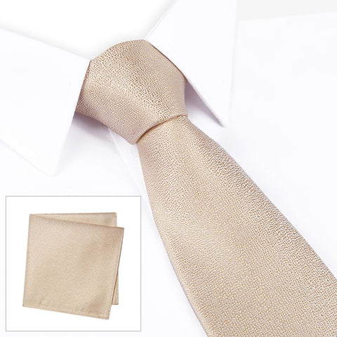 Pastel Gold Textured Woven Silk Tie & Handkerchief Set