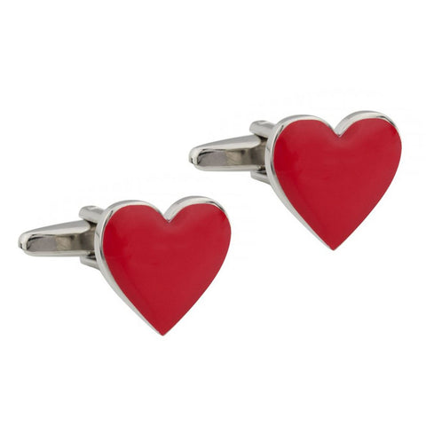 Red Enamel Heart Cufflinks