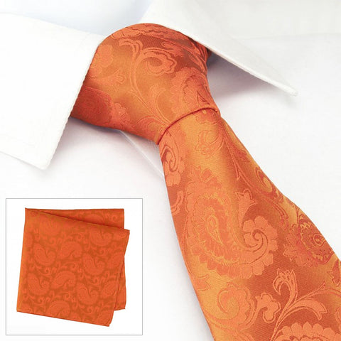 Classic Orange Paisley Luxury Silk Tie & Handkerchief Set