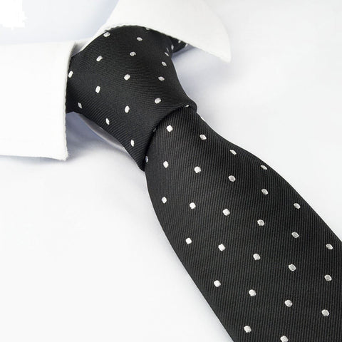 Black Polka Dot Silk Slim Tie