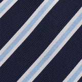 Navy With White and Blue Stripes Silk Tie