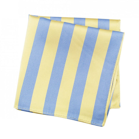 Yellow & Blue Woven Striped Silk Handkerchief