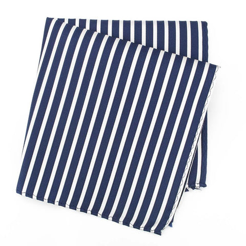 Navy and White Striped Woven Silk Handkerchief