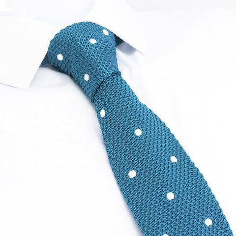 Cyan Polka Dot Knitted Square Cut Tie