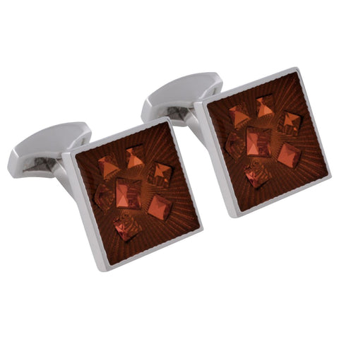 Brown Swarovski Enameled Cufflinks
