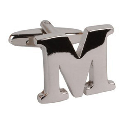Letter M Initial Cufflink (Sold Individually)