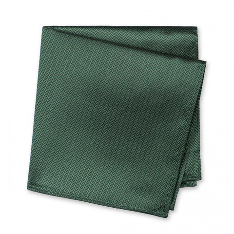 Dark Green Herringbone Silk Handkerchief