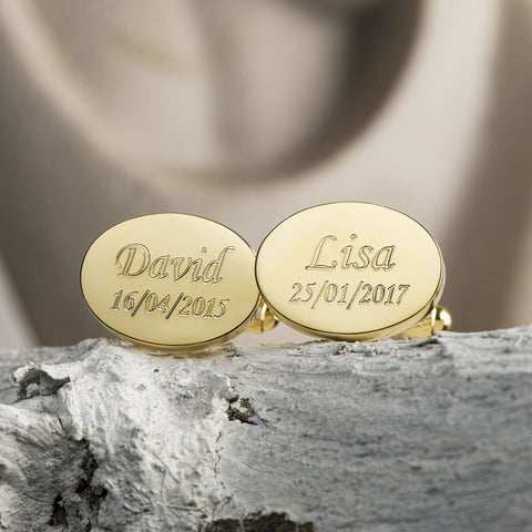 Kids Name & Date Engraved Gold Oval Cufflinks