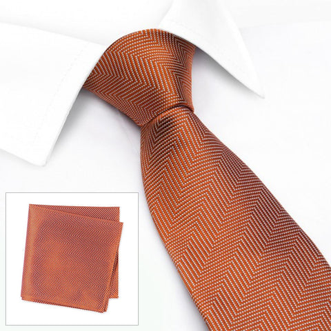Burnt Orange Aztec Woven Silk Tie & Handkerchief Set