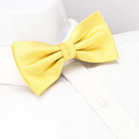 Pre-Tied Plain Lemon Yellow Silk Bow Tie
