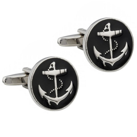 Black Enamel Anchor Cufflinks