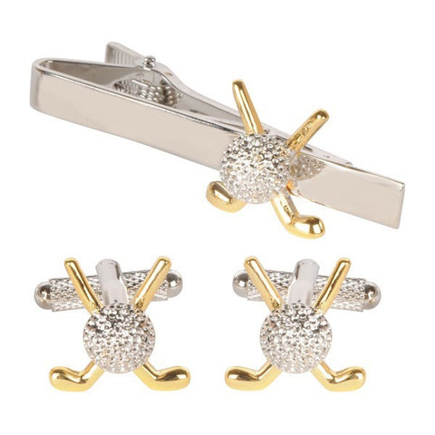 Gold Crossed Golf Clubs Cufflinks & Tie Bar Gift Set