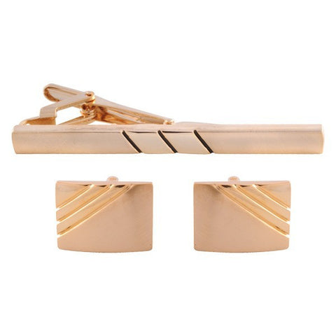 Parallel Lined Gold Cufflinks & Tie Bar Set