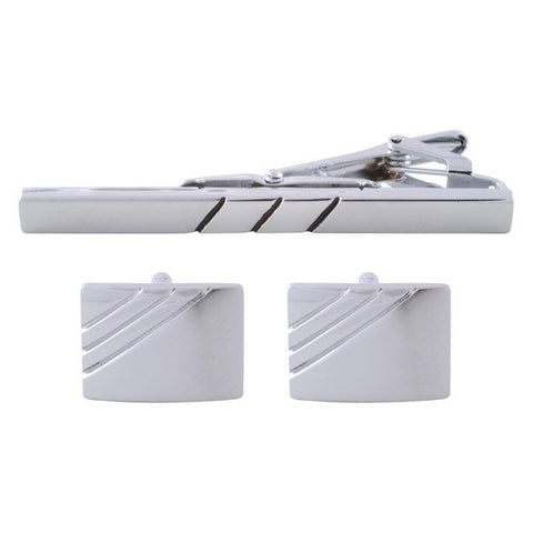 Parallel Lined Silver Cufflinks & Tie Bar Set