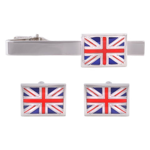 Union Jack Cufflinks and Tie Bar Set
