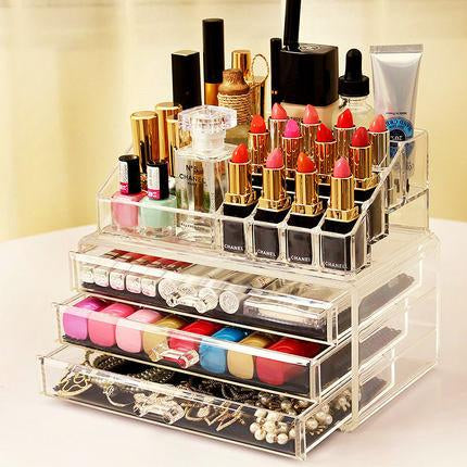 16 Compartments See-Through Acrylic Cosmetic Organizer