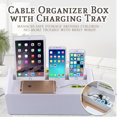 Cable Organizer Box with Charging Tray