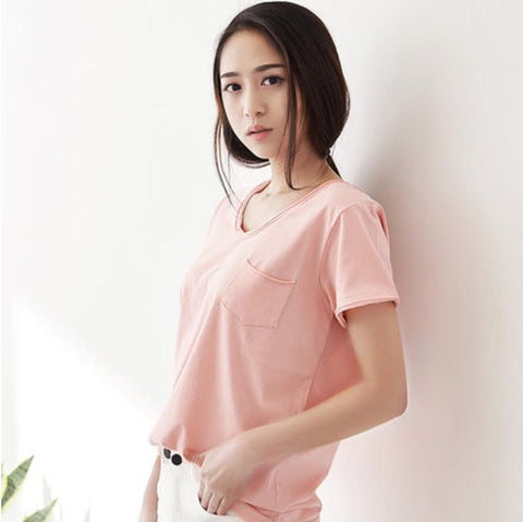 Casual Everyday Basic Tee with Pocket