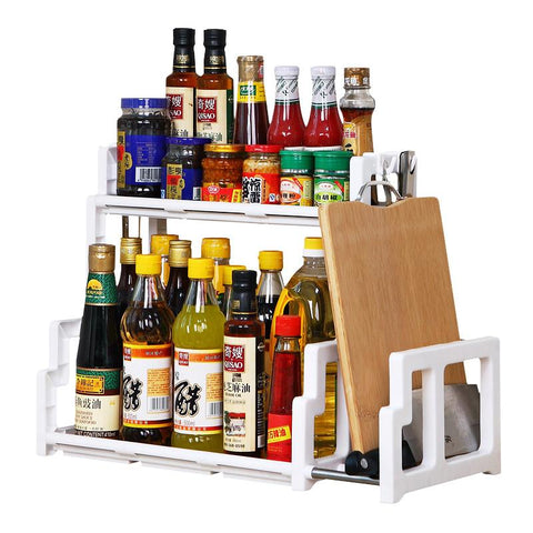 Angular Handy Kitchen Rack with Chopping Board Holder (White)