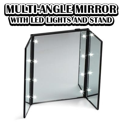Multi-Angle Mirror with LED Lights and Stand