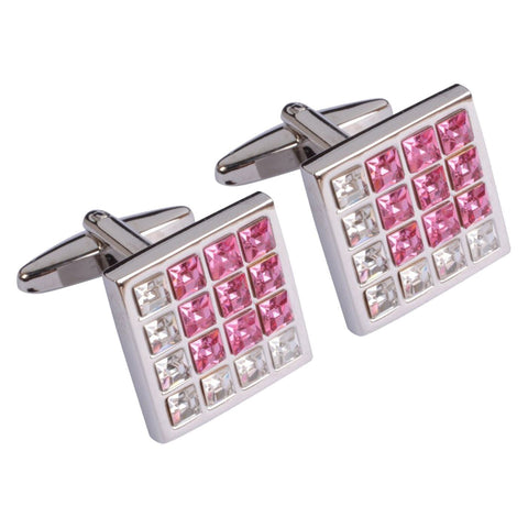 Square Pink and White Crystal Cufflinks