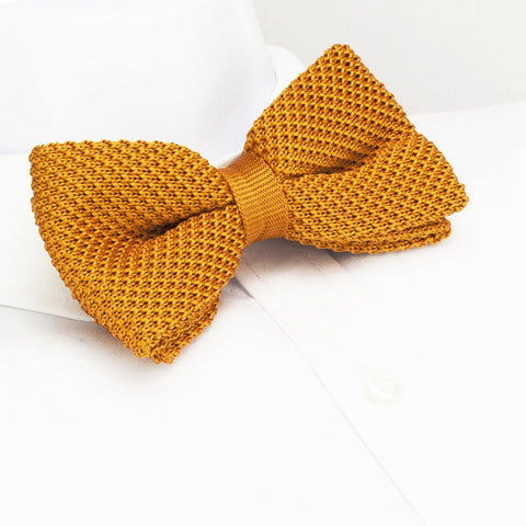 Pre-Tied Burnt Orange Knitted Bow Tie