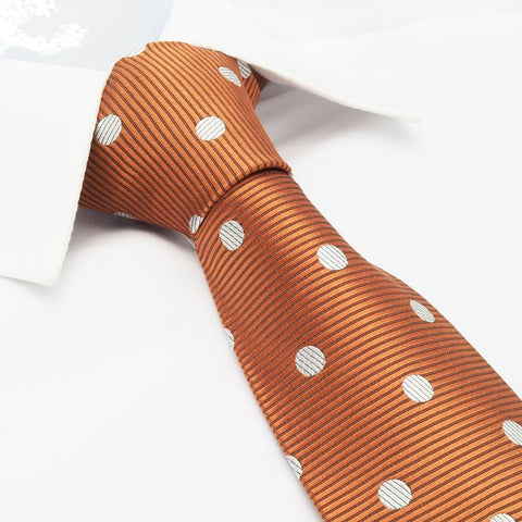 Burnt Orange Silk Tie With White Polka Dots
