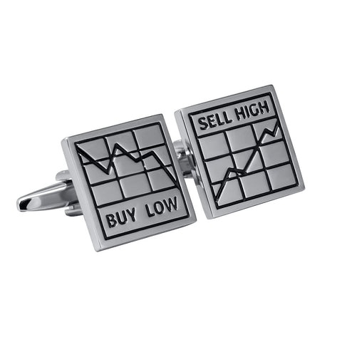 Buy Low Sell High Stockbroker Cufflinks