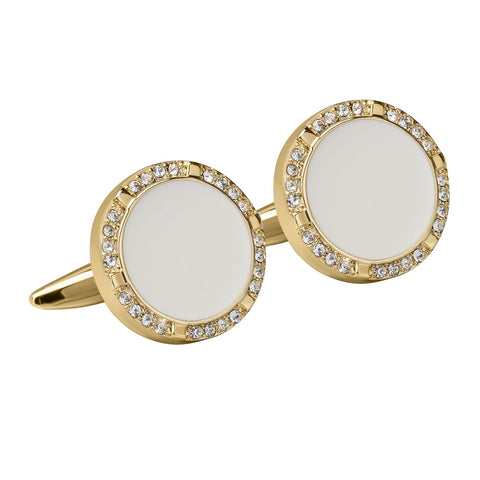 Gold Crystal With White Enamel Circle Cufflinks