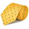 Yellow & Navy Polka Dot Woven Silk Tie