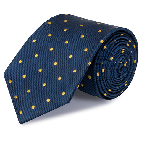 Navy & Yellow Polka Dot Woven Silk Tie