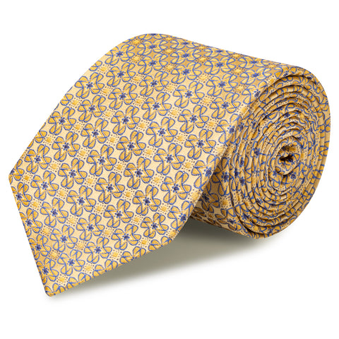 Gold & Blue Floral Luxury Silk Tie