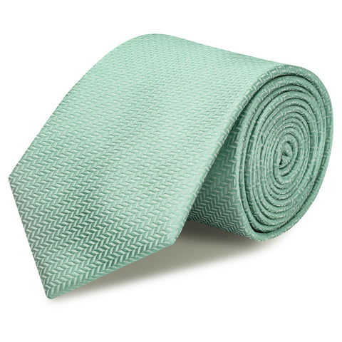 Duck Egg Herringbone Silk Tie