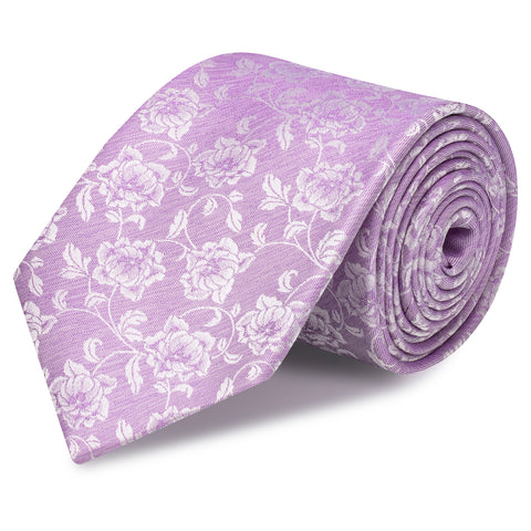 Lilac Dainty Floral Woven Silk Tie
