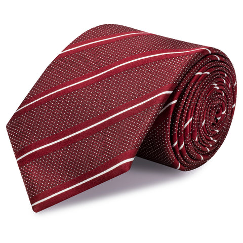 Dark Red Striped Micro Dot Silk Tie