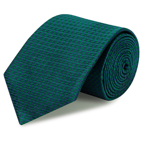 Green & Navy Dogtooth Silk Tie
