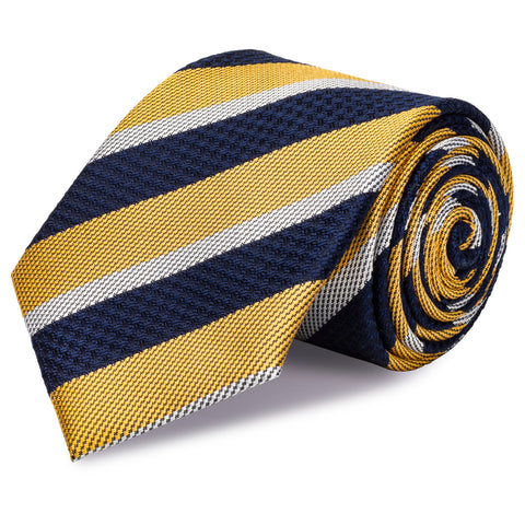 Yellow & Navy Textured Classic Striped Silk Tie