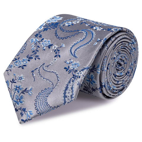Silver & Blue Luxury Floral Silk Tie