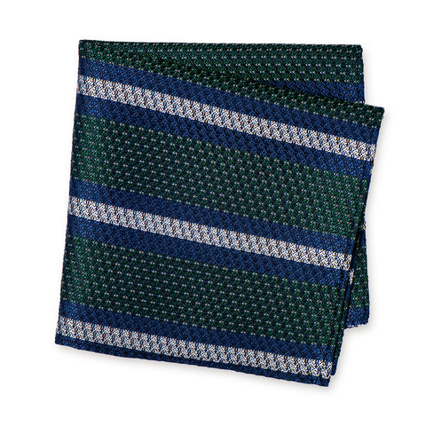 Green Textured Classic Striped Silk Handkerchief
