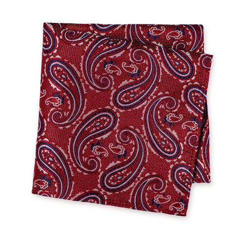 Red & Blue Large Paisley Silk Handkerchief