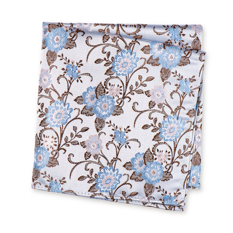 Blue & Pink Luxury Floral Silk Handkerchief