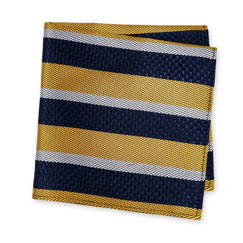 Yellow & Navy Textured Classic Striped Silk Handkerchief
