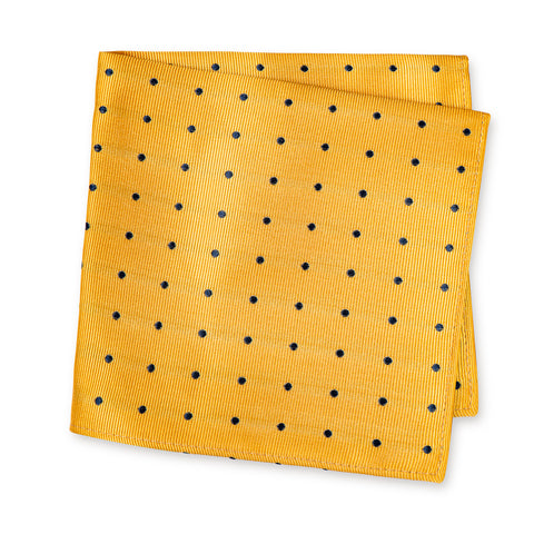 Yellow & Navy Polka Dot Woven Silk Handkerchief