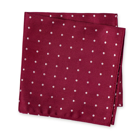Burgundy Polka Dot Woven Silk Handkerchief