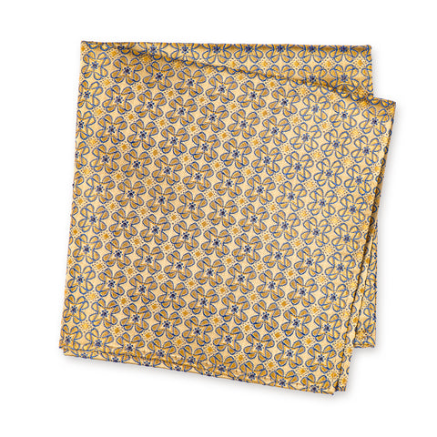 Gold & Blue Floral Luxury Silk Handkerchief