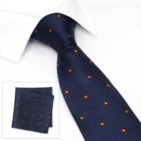 Navy & Orange Textured Spot Woven Silk Tie & Handkerchief Set
