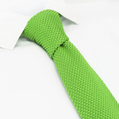 Lime Green Knitted Square Cut Tie
