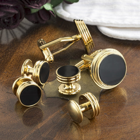 Gold Plated Onyx Cufflinks and Dress Studs Set
